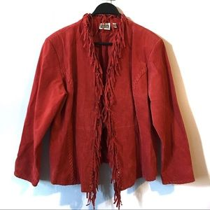 Vintage Chico's Design Red Suede Fringe Jacket